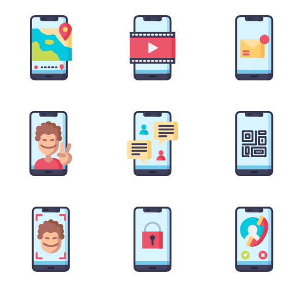 Vector screen phone. Iphone icons free mobile