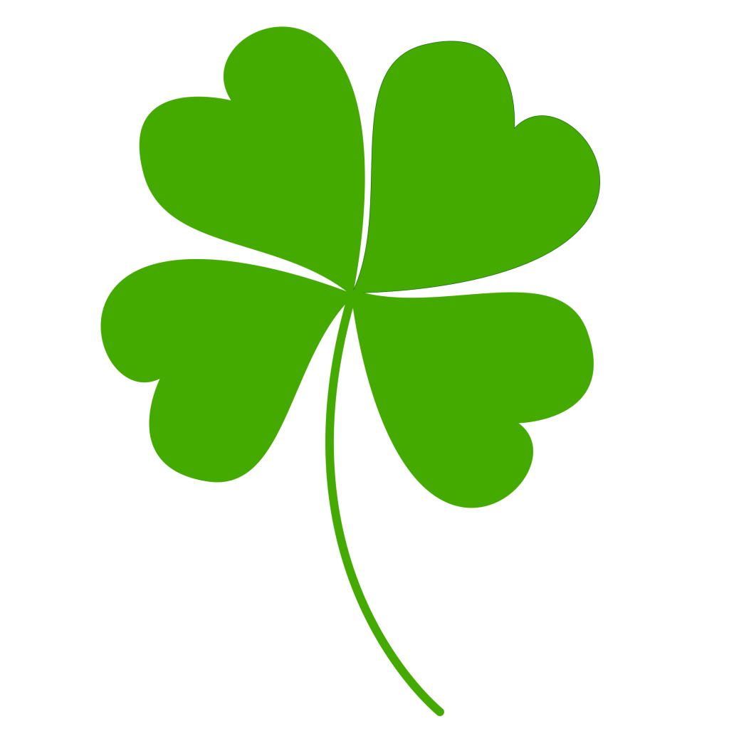 Image four leaf symbol. Irish clover png picture black and white library