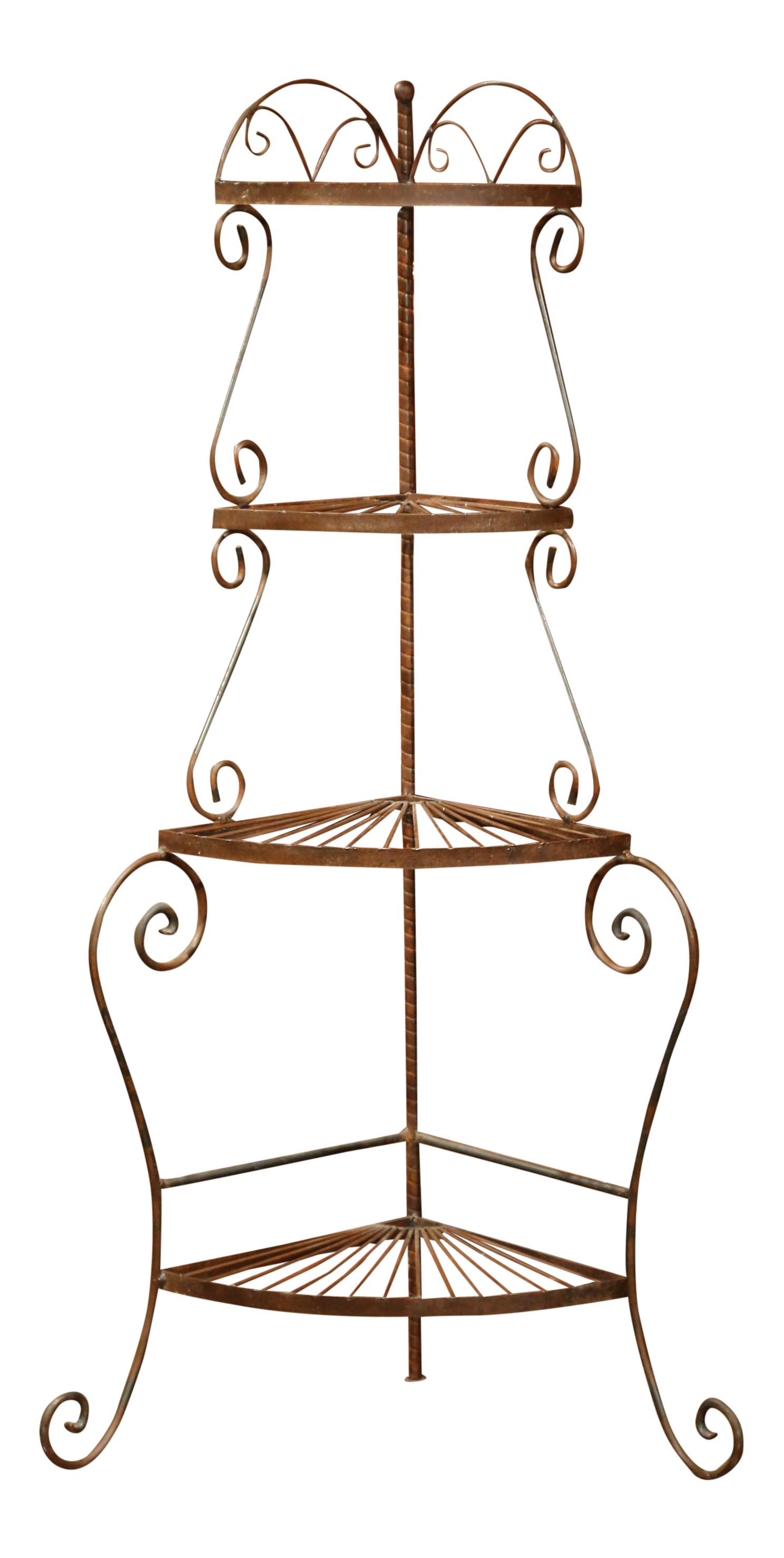 Iron clipart book rack. Four tier patinated corner