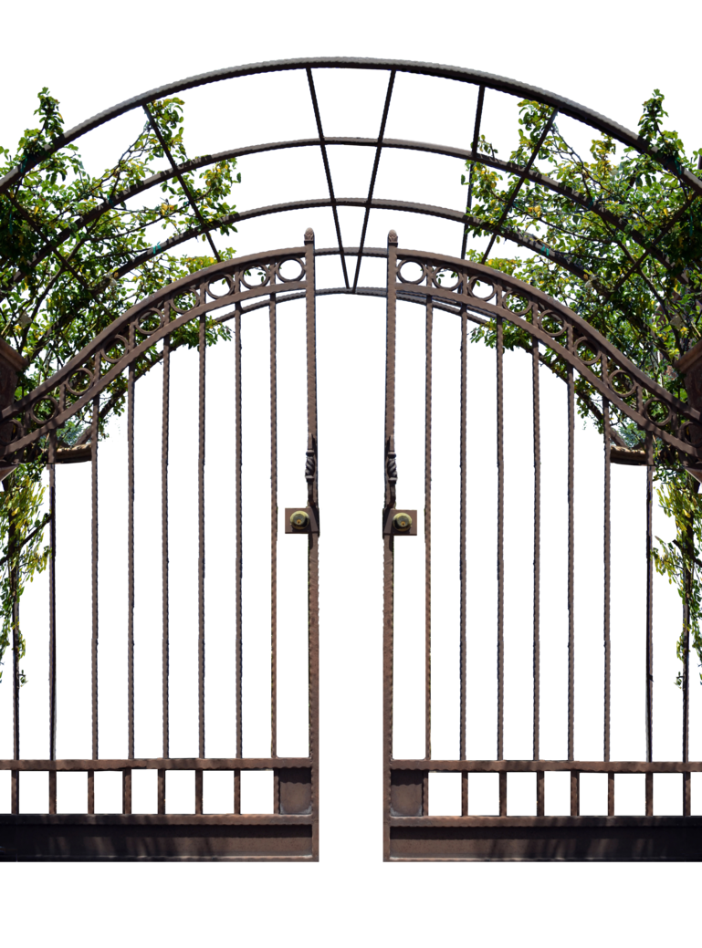 Iron gate png. With vines stock photo