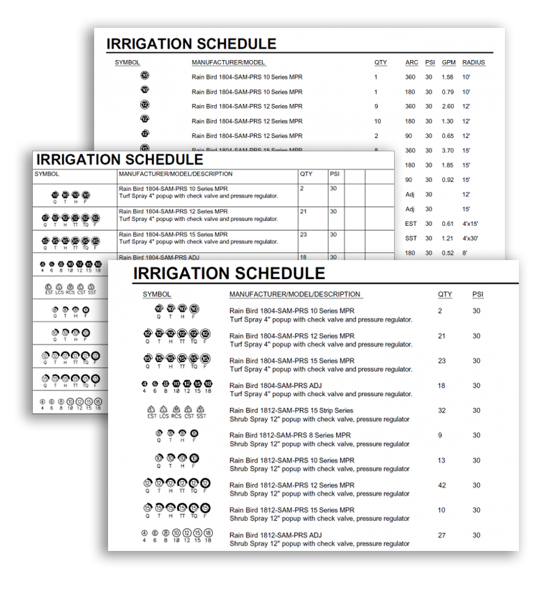 Irrigation drawing cad. Features schedules