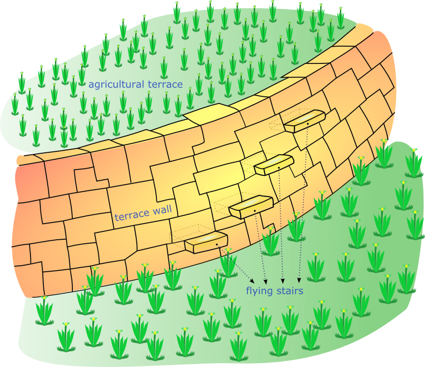 Landforms drawing farm field. Terrace agriculture wikipedia diagram