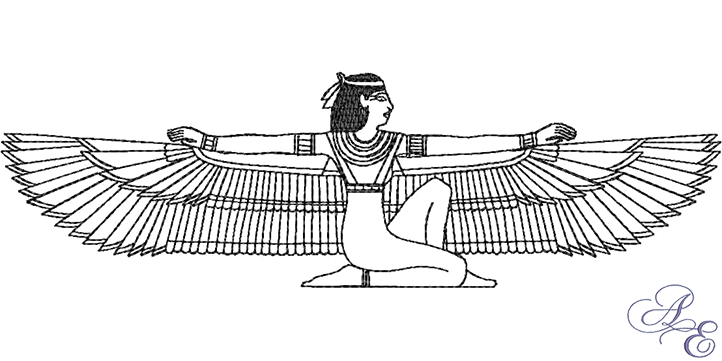 Isis drawing. Egyptian archives art of