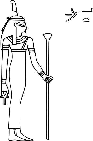 Isis drawing egyptian sphinx. Maat symbol clip art
