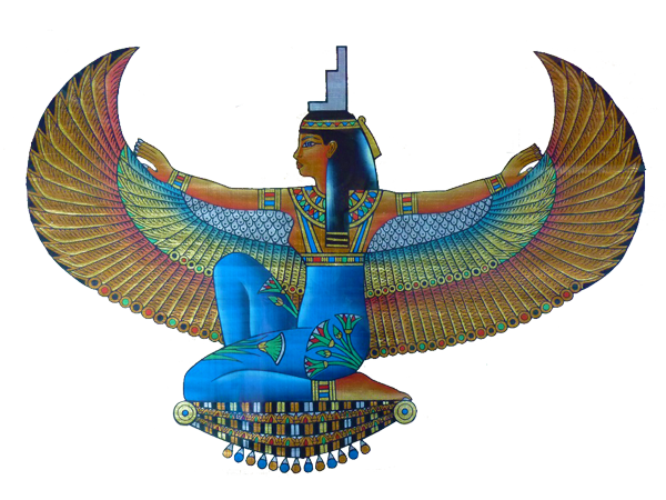 Isis drawing goddess. Wings of beautiful blue