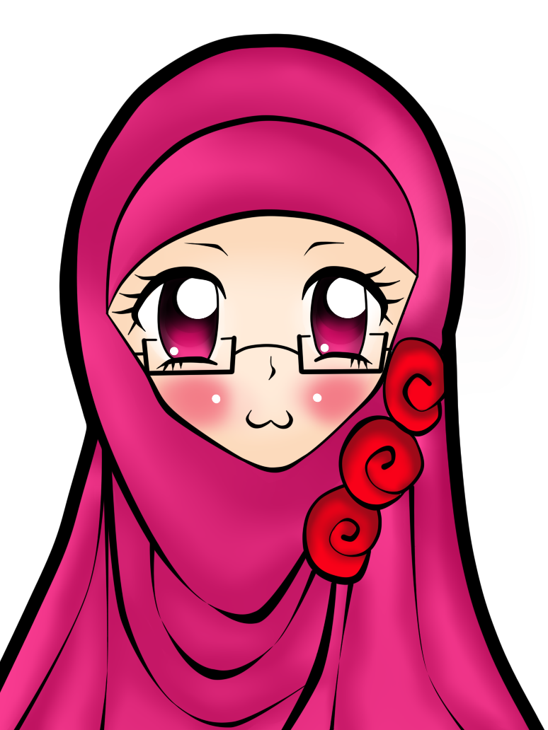 Islam drawing hijab. Pink description of in