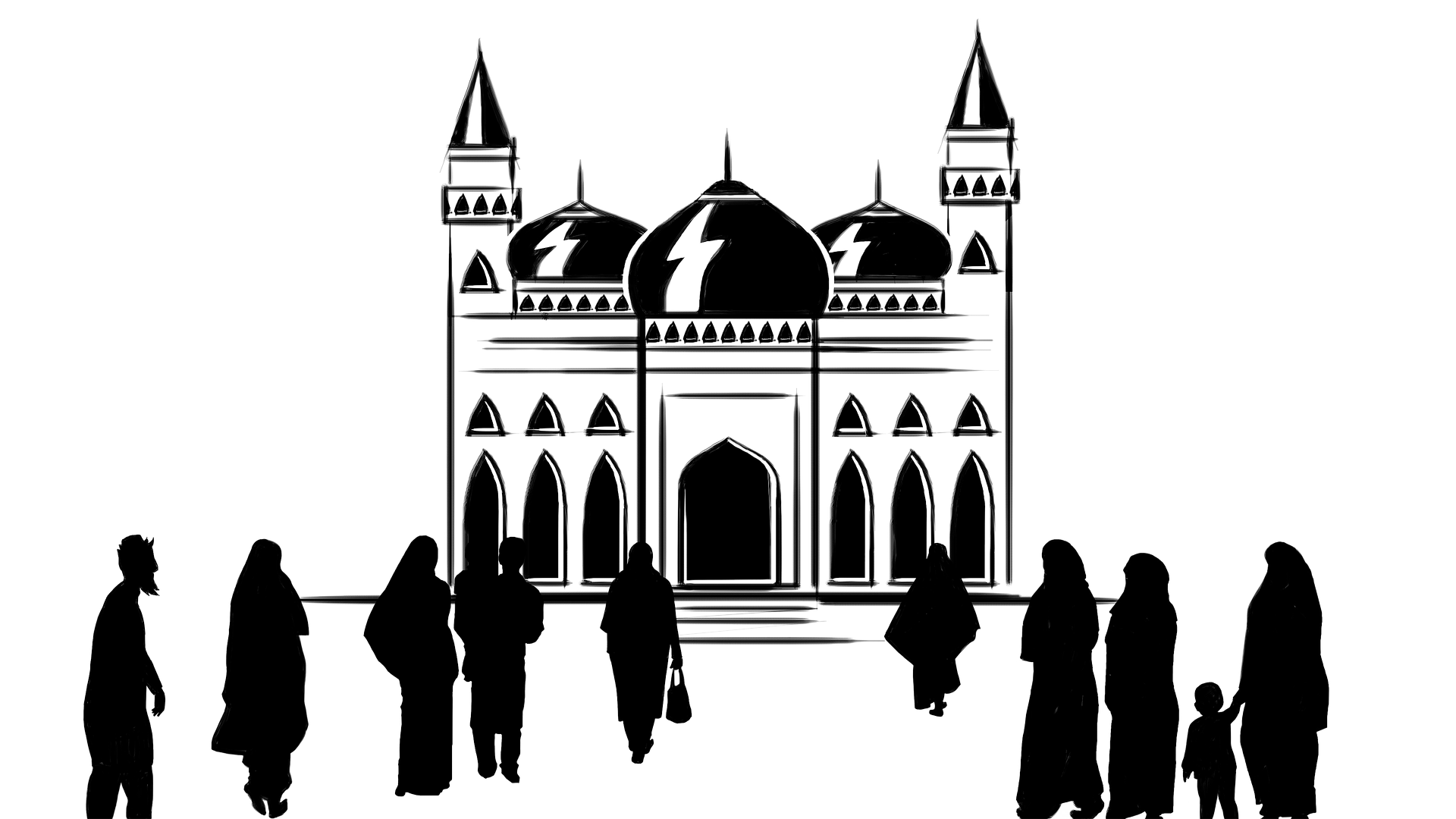 Islam drawing islamic building. The beloved prophet of
