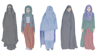 Women transparent hijab