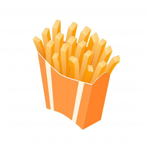 Isometric illustration of french fries takeaway box package vector.