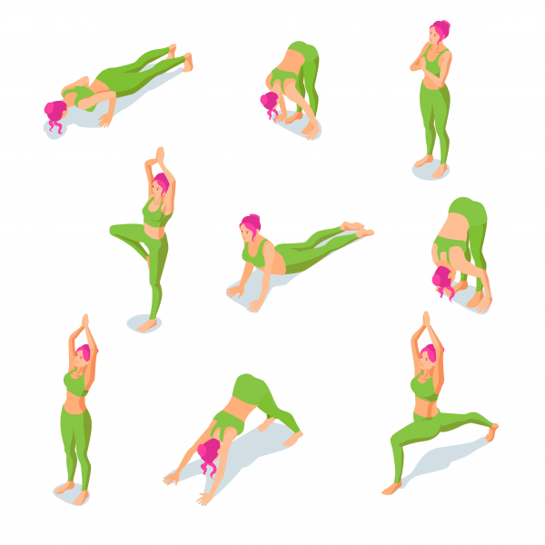 Isometric illustration of girl doing yoga fitness