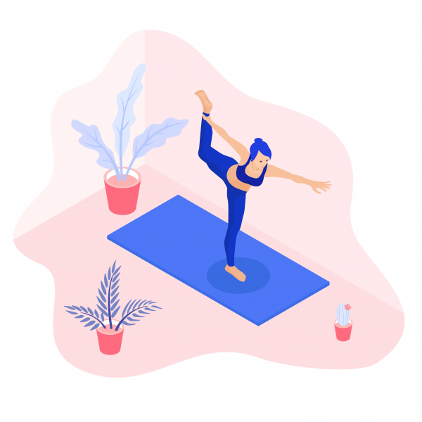 Isometric vector illustration of a fit yoga girl in a dancer pose asana surrounded by plants.