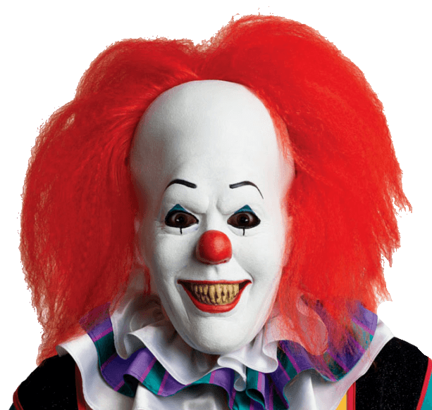 Red hair scary halloween. Transparent clown clip black and white