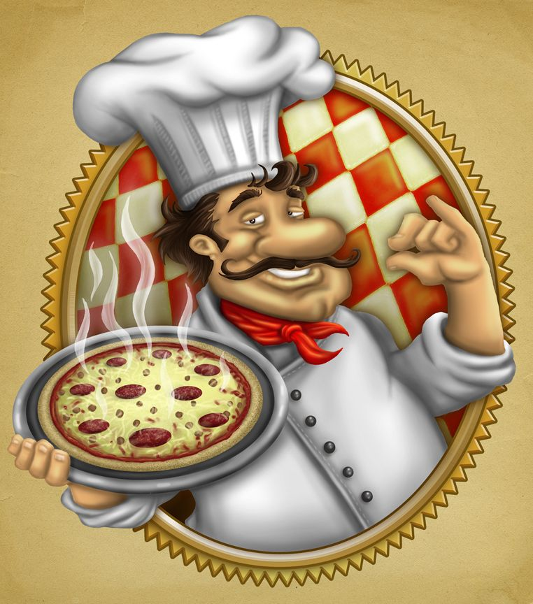 Italian clipart chef holding pizza. Illustration caffe restaurant