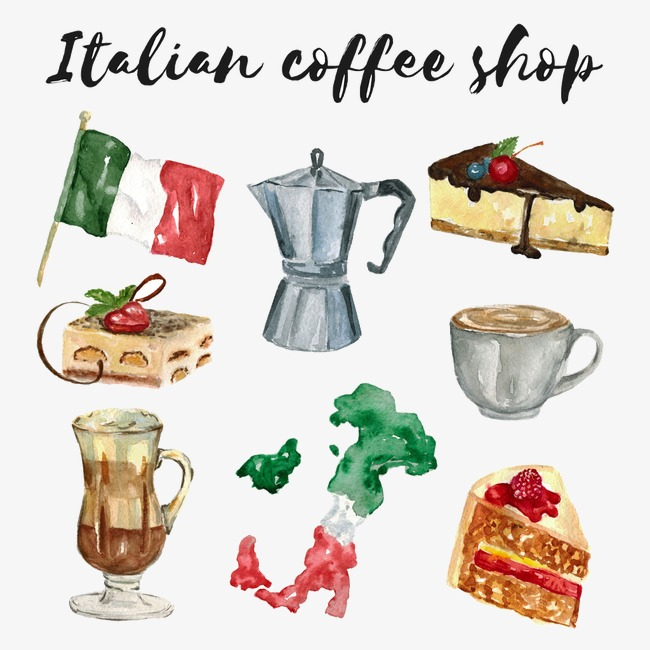Italian clipart italian coffee shop. Food drink watercolor png