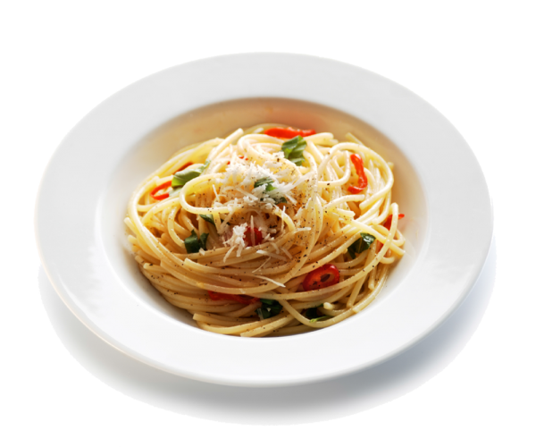Italian dinner png. Spaghetti with chilli and