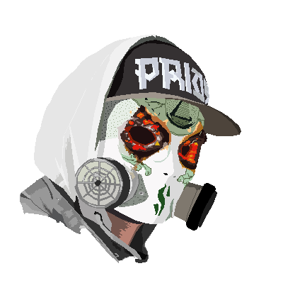 J drawing gas mask. Started some fanart wip