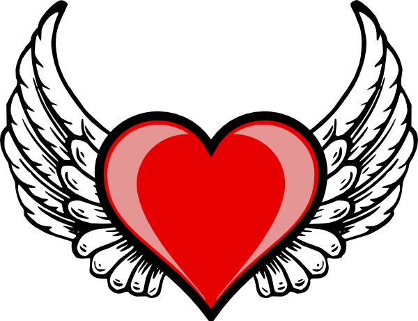 J drawing heart. Wing logo clip art