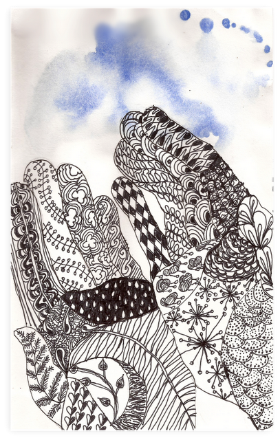J drawing zentangle. Hands like the watercolor