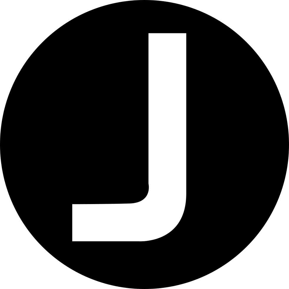 J transparent circle. Capital letter in a