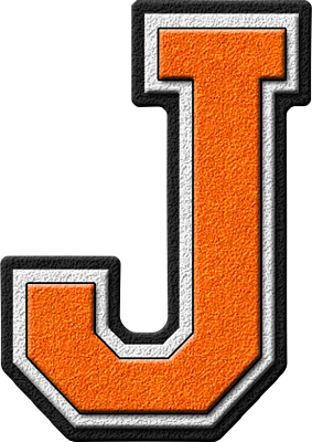 J transparent orange. Presentation alphabets varsity letter