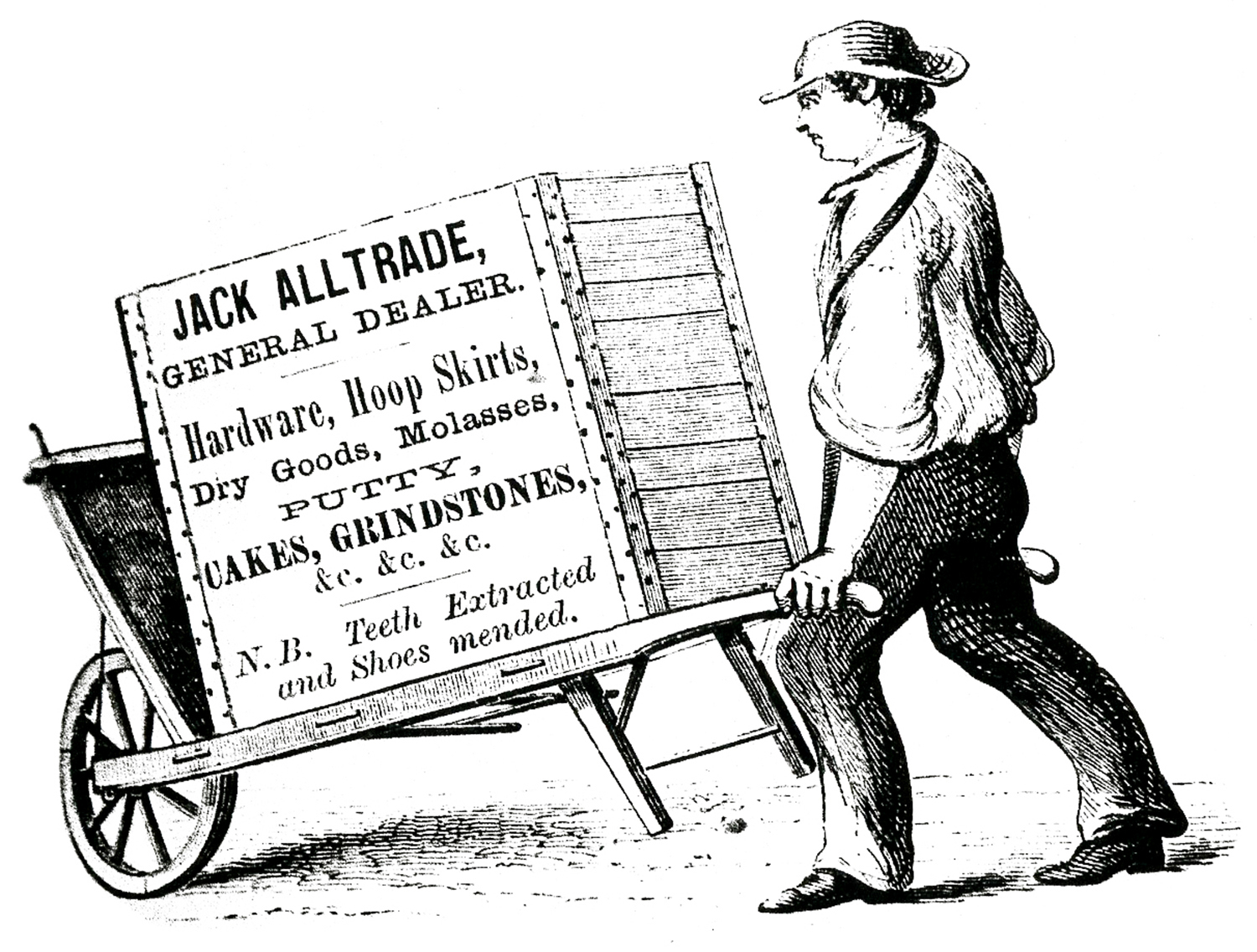 Jack clipart all trade. Curious wheelbarrow sign man