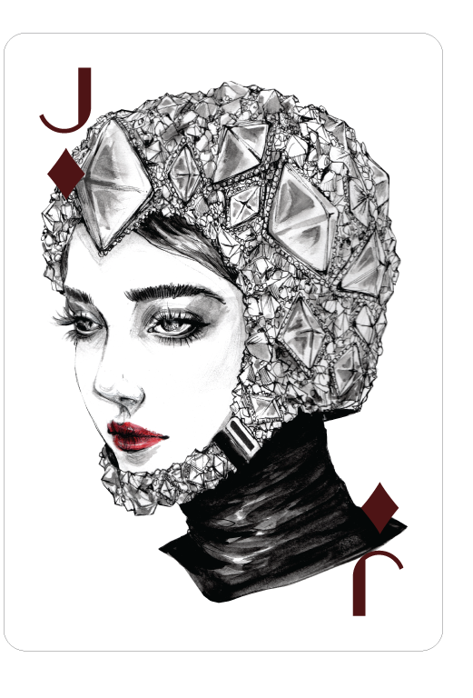 Jack drawing illustration. Playing cards of diamonds