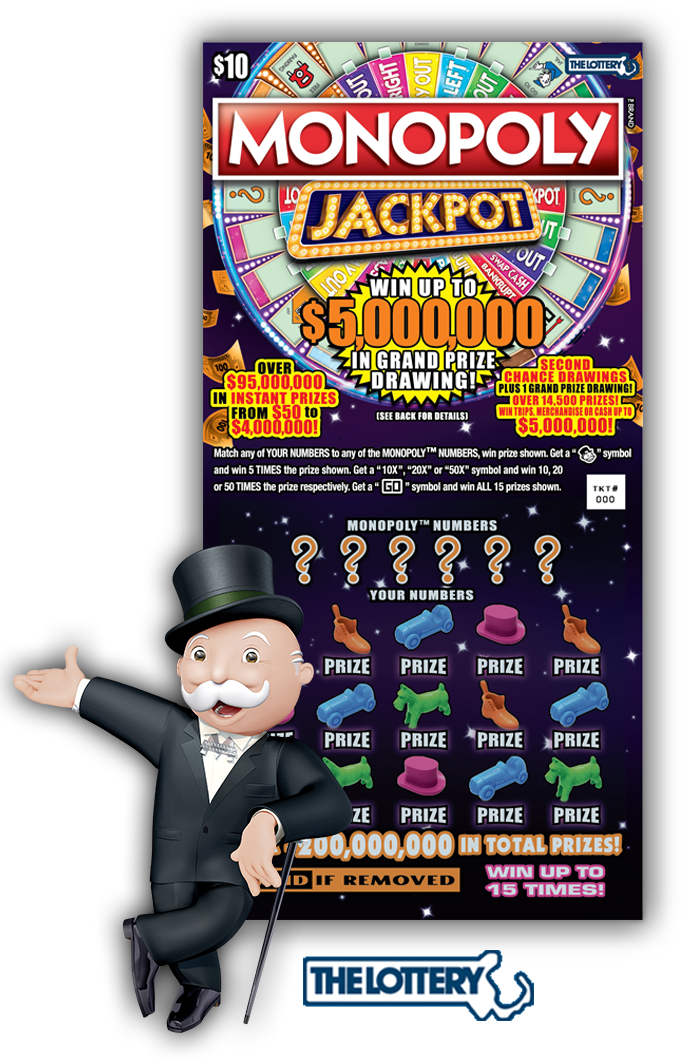 Jackpot drawing lottery ticket. Home monopoly ma second