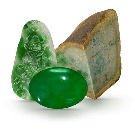 Transparent stones jade. There are two minerals