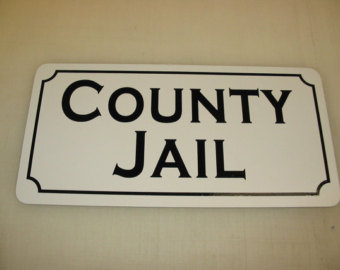 Jail clipart jail sign. Etsy county metal