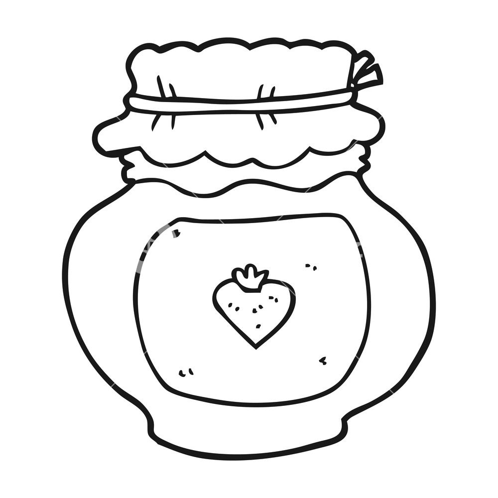 Jam clipart black and white. Freehand drawn cartoon jar
