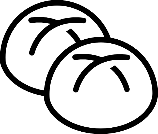 Yeast drawing bun bread. Basket clipart black and