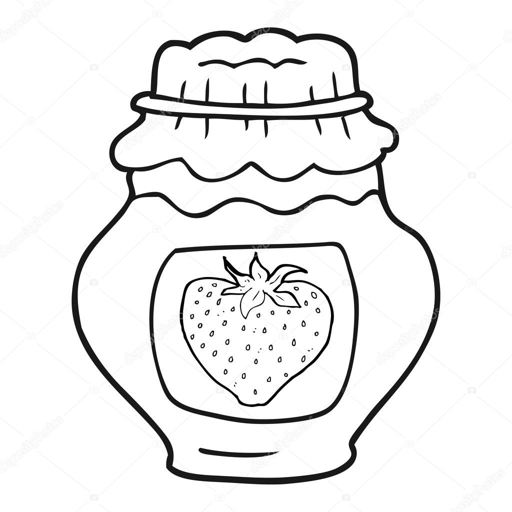 Jam clipart black and white. Cartoon jar of strawberry