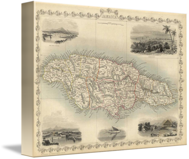 Jamaican drawing contemporary. Vintage map of jamaica