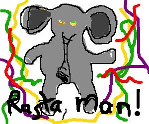 Jamaican drawing dance. Elephant dancing while on
