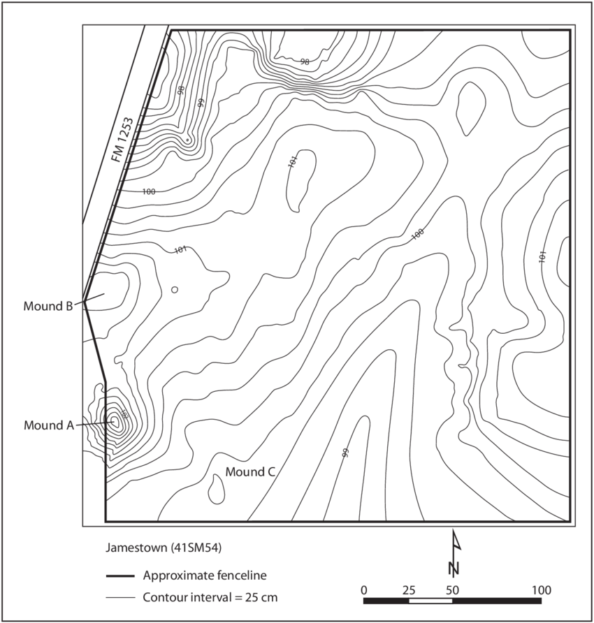 Jamestown drawing map. Contour of the site