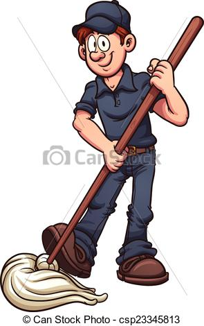 Janitor clipart. Cartoon vector clip art png transparent stock