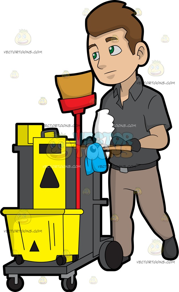 Janitor clipart. A pushing his cleaning svg transparent stock