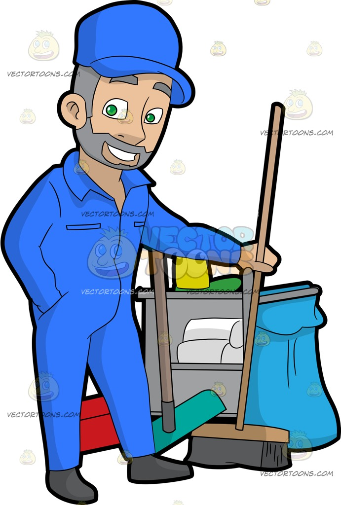 A confident male holding. Janitor clipart clip art transparent download