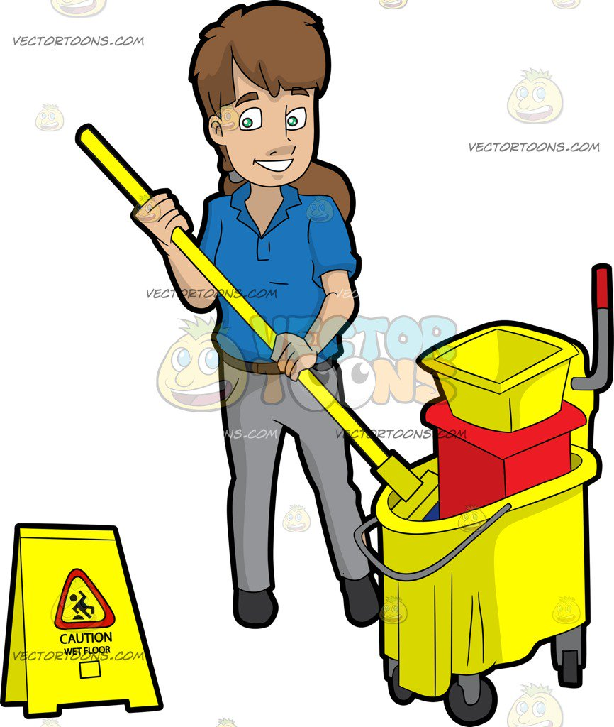 A female wringing out. Janitor clipart royalty free download