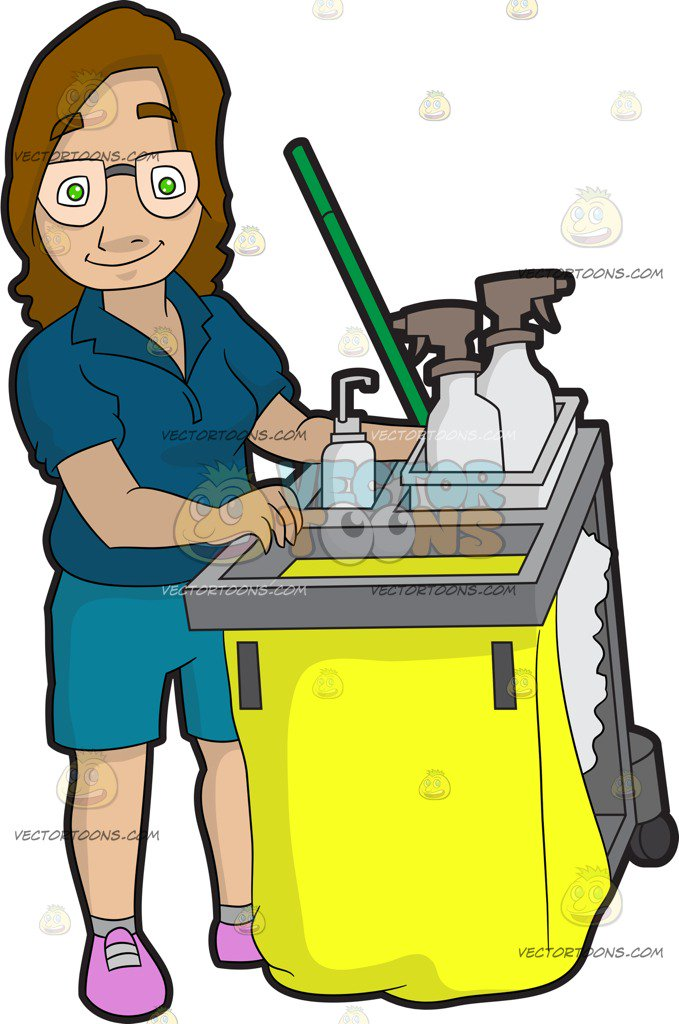 Janitor clipart. A female pushing her graphic free library