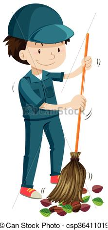 Janitor clipart. Sweeping the fallen leaves clipart freeuse stock