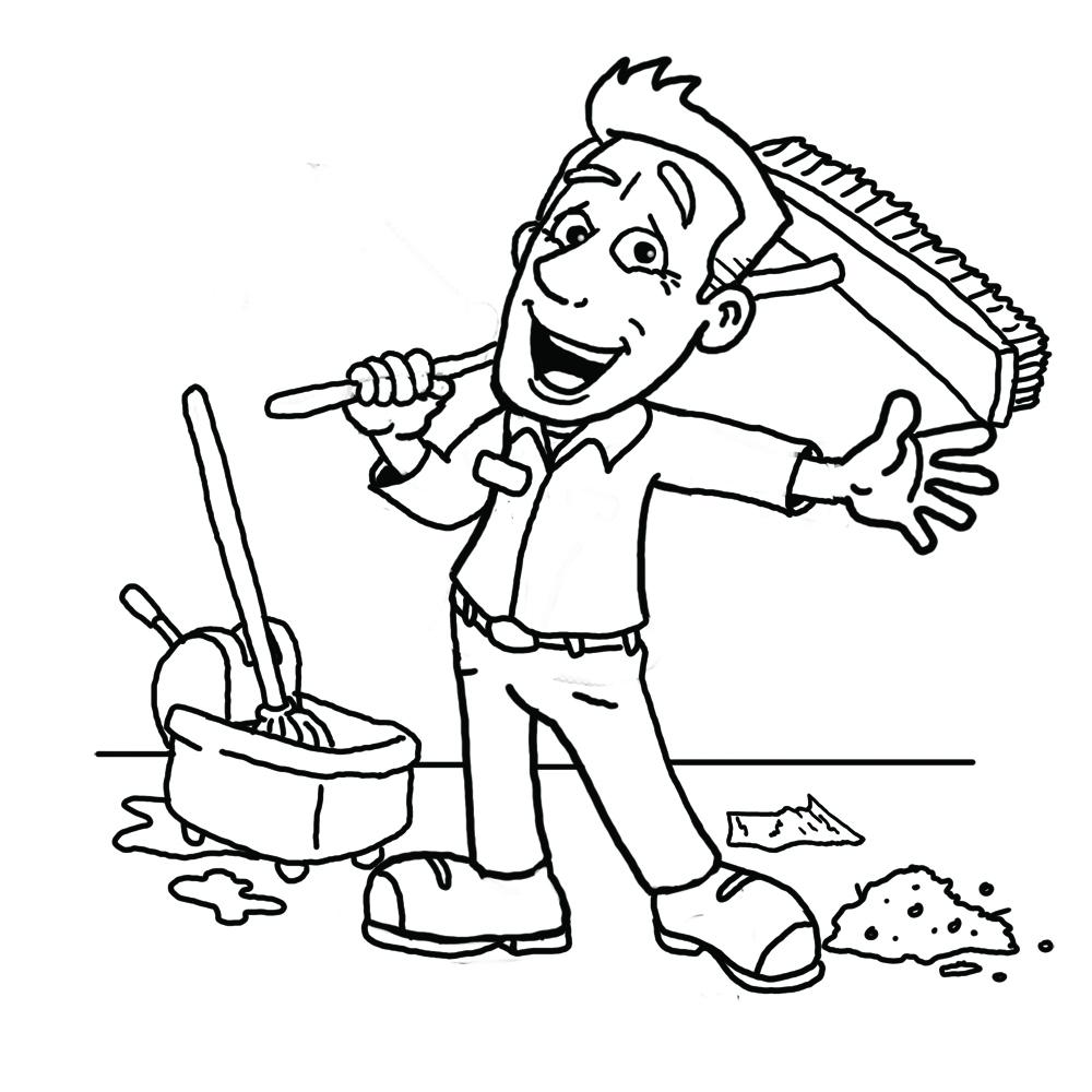 Janitor clipart black and white. Hd design