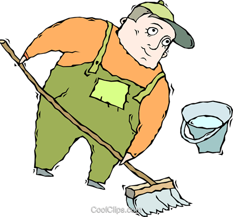 Cleaning floors royalty free. Janitor clipart transparent library