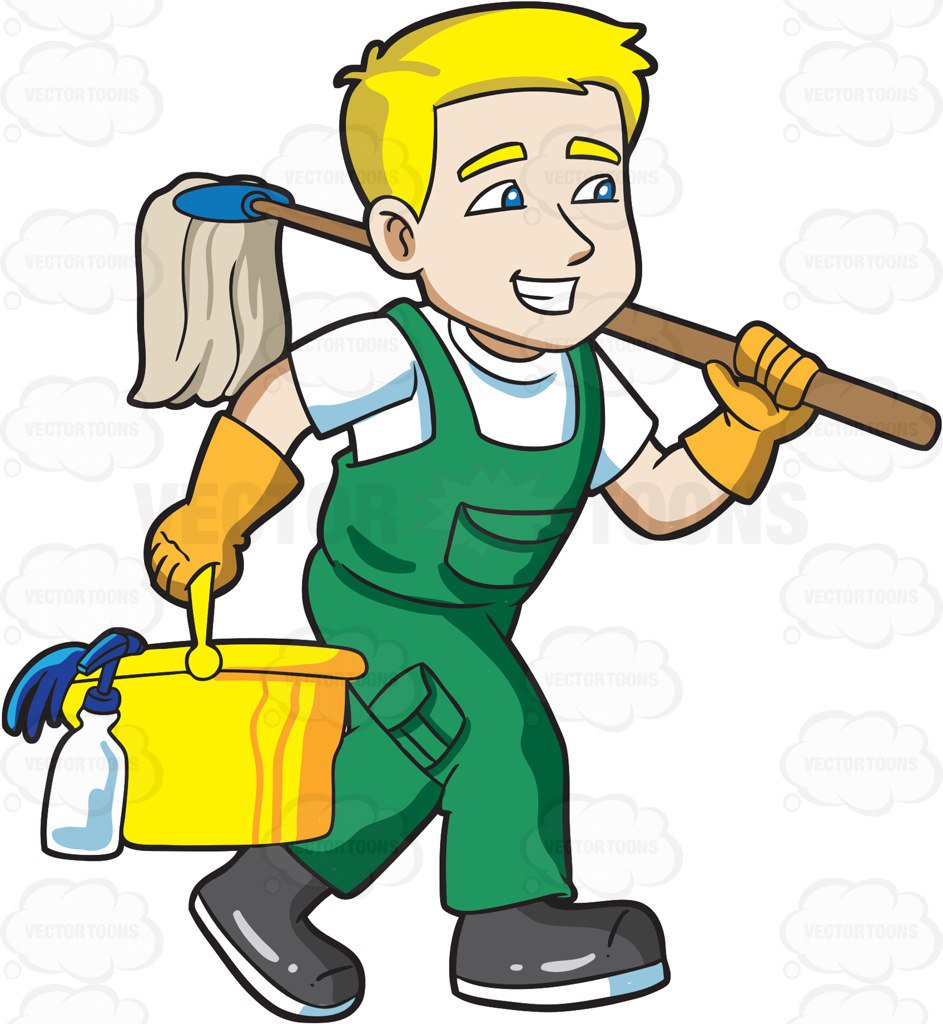 A on his way. Janitor clipart clip art transparent stock