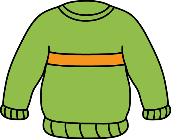January clipart cold weather clothes. Green and orange sweater