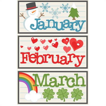 January clipart cute. February march titles svg