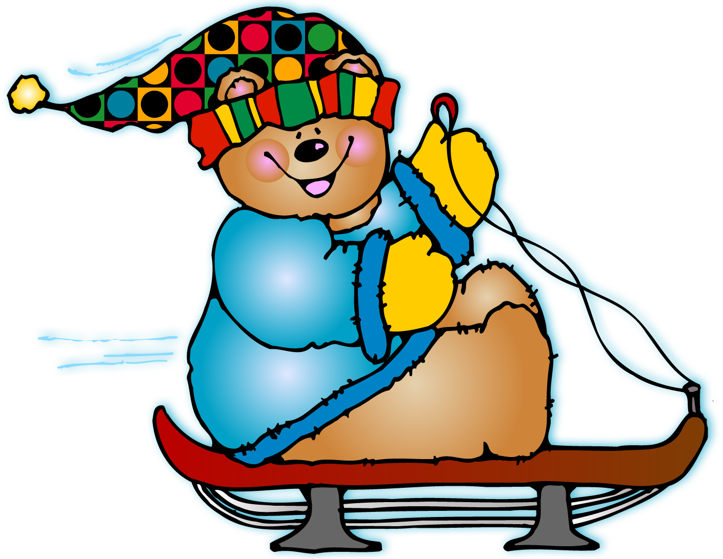 sledding clipart snow sled