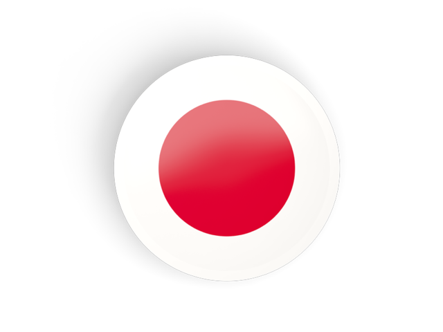 Japan flag png. Round concave icon illustration