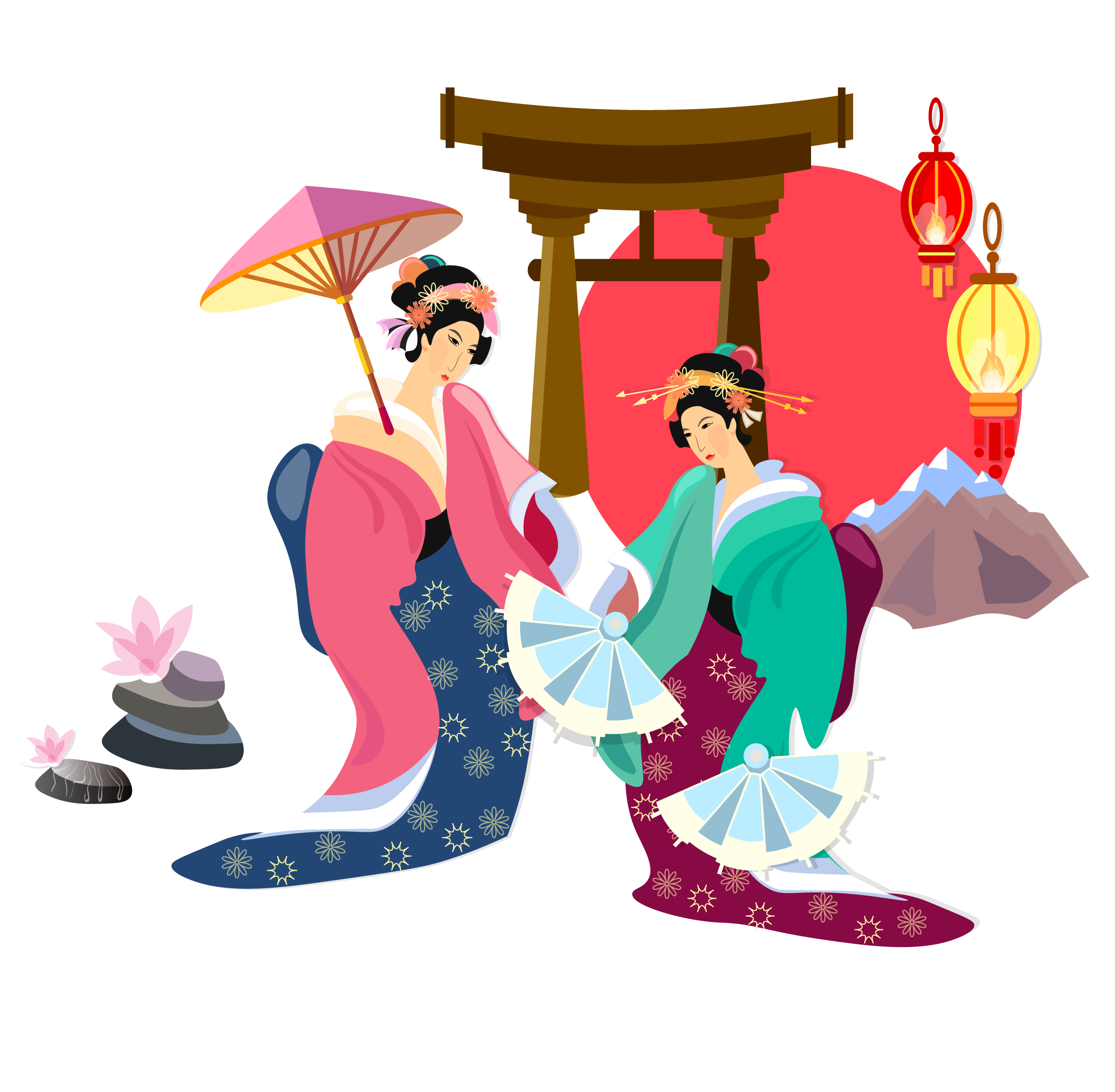 Japanese clip woman. Art transprent png free