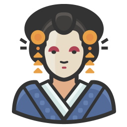 Japanese clip woman. Traditional icon free avatars